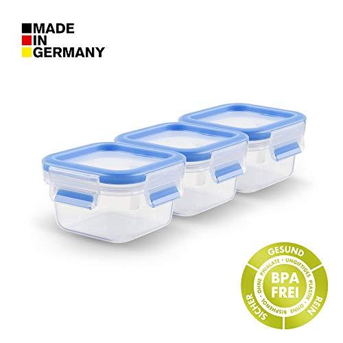 Tefal K43506 Lot de boîtes de Conservation 0,25 + 1 + 1,6 + 2,6 l Clip and Close, Plastique, Bleu Transparent, 3X 0,25 L