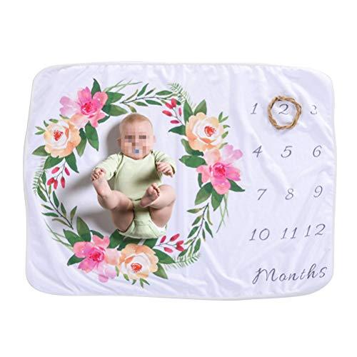 YeahiBaby mensuel Milestone Couverture de bébé Nouveau-né Croissance Record Photographie Fond Couverture Chiffon de Toile de Fond Guirlande de bébé Nid d'ange (Motif)