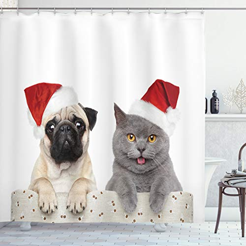 ABAKUHAUS Mops Duschvorhang, Weihnachten Themed H& Foto, Moderner Digitaldruck mit 12 Haken auf Stoff Wasser & Bakterie Resistent, 175 x 240 cm, Graue Creme Rot