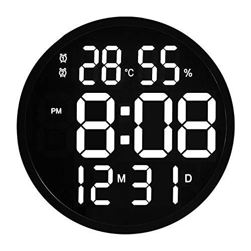 Reloj de pared de 30,5 cm LED de gran número digital reloj de pared de temperatura y humedad reloj electrónico de diseño moderno decoración del hogar oficina marco negro