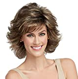 Raquel Welch Breeze, Short Textured Layers With A Feathered Bob Style Hair Wig For Women, R12T Pecan Brown by Hairuwear