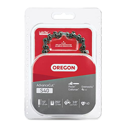 Oregon S40 AdvanceCut Chainsaw Chain for 10-Inch Bar -40 Drive Links – low-kickback chain fits Echo, Greenworks, Poulan and more