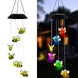 MorTime LED Solar Bee Wind Chime, 25' Mobile Hanging Wind Chime for Home Garden Decoration, Automatic Light Changing Color(Honeybee)