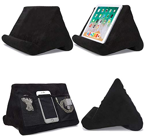 Cushion Stand Tablet Cushion with Net Pocket Multi-Angle Soft Tablet Pillow Adjustable 3 Viewing Angle, for Lap, Sofa and Bed - Universal Phone & iPad Stands, eReaders, Magazines, Kindle (black)