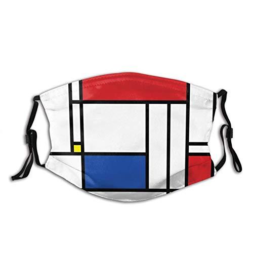 Mondrian Minimalist De Stijl Modern Art - Filtro de polvo reutilizable y reutilizable para la boca cálida a prueba de viento y cara de algodón