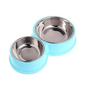Jiamins - Comedero Doble de Acero Inoxidable para Perros y Mascotas, alimentador de Agua para Gatos y Cachorros 2