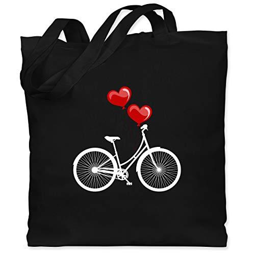 Shirtracer Statement - Fahrrad Herz Luftballons - weiß/rot - Unisize - Schwarz - jutebeutel fahrrad - WM101 - Stoffbeutel aus Baumwolle Jutebeutel lange Henkel