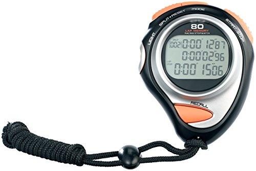PEARL sports Stoppuhr Sport: Fitness-Stoppuhr Premium, 3-Zeilen-Display, 30 Speicher (Stopuhren)
