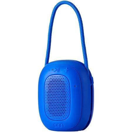 ONN Mini Bluetooth Speaker, Blue, Built-in Speakerphone & Hanging Strip …