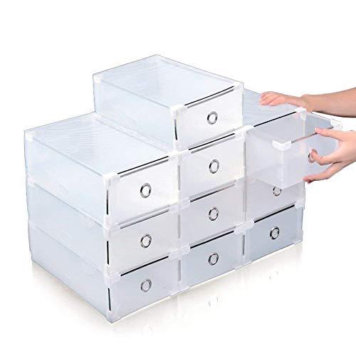 AllRight 10X Schuhbox Schuhaufbewahrung Stapelbox Schuhablage mit Deckel Transparent Plastik
