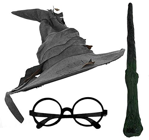 ADULTS-WIZARD-FANCY-DRESS-COSTUME-ACCESSORY-SET-WIZARD-HAT-ROUND-BLACK-GLASSES-BRANCH-STYLE-WIZARDS-WAND-FANCY-DRESS-ACCESSORIES-FOR-BOOK-WEEK