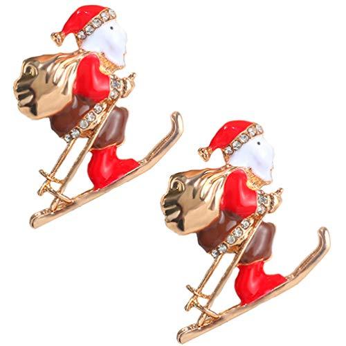 Amosfun 2Pcs Christmas Brooch Ornaments Christmas Sled Brooch Pin Rhinestone Crystal Christmas Decorations for Unisex Wearing