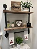 Industrial Pipe Shelf Bathroom Shelves Wall Mounted,19.6in Rustic Wood Shelf with Towel Bar,2 Tier Farmhouse Towel Rack Over Toilet,Pipe Shelving Floating Shelves Towel Holder,Retro Grey