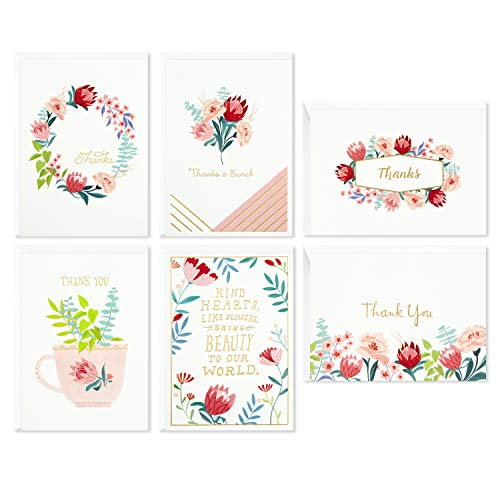 Hallmark Thank You Cards for Baby Showers, Bridal Showers, All Occasion (Watercolor Flowers, 48 Assorted Cards with Envelopes,)
