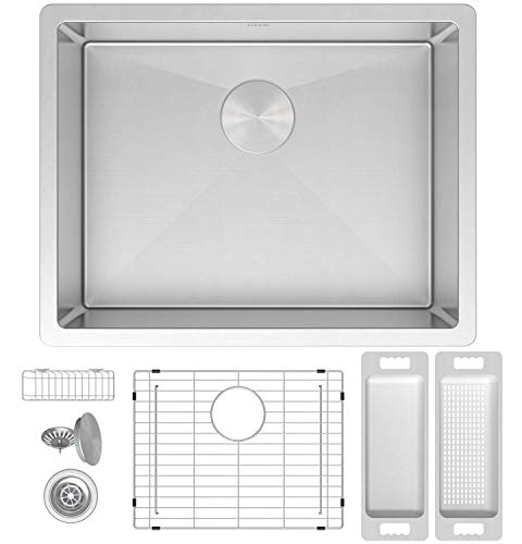 """Zuhne 21-Inch Small Kitchen Prep/Laundry Utility Scullery/RV Mobile Home Camper Undermount Single Bowl Stainless Steel Sink for 24""""Cabinet (16-Gauge Modena21x18) (30 X 20 Stainless Steel Kitchen Sink)"""