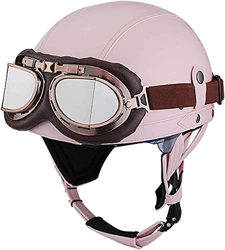 ZLYJ Medio Casco De Motocicleta Retro con Gafas De Cuero Alemán Vintage Moto Casco De Cara Abierta Brain-Cap para Chopper Biker Pilot ECE Aprobado C,S(54-56cm)