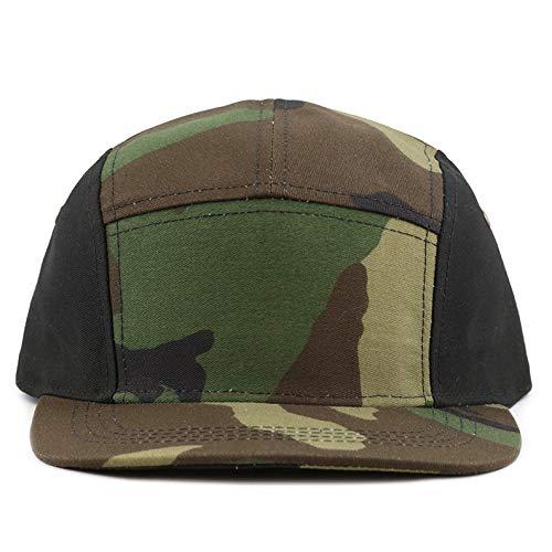 The Hat Depot Made in USA 5 Panel Genuine Leather Brass Closure Flat Brim Biker Cap (Camo2)
