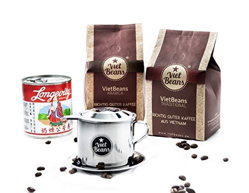 Vietnamesisches Kaffee-Starterset VietBeans gemahlen - 2 x 250g gemahlener Röstkaffee + Filter (Phin) + gez. Kondensmilch - Kaffee Vietnam - Traditional und 100% Arabica