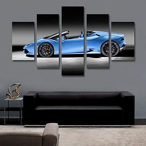 VKEXVDR 5 Piezas Modernos Mural Coche Deportivo Azul Cuadro en Lienzo,impresión artística,único,Pasillo Decor Pared Cuadro Carteles Innovador
