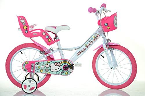 Dino Bigioni Hello Kitty Kinderfahrrad Mädchenfahrrad – 16 Zoll | Original Lizenz | Kinderrad mit Stützrädern, Puppensitz und Fahrradkorb - Das Hello Kitty Fahrrad als Geschenk für Mädchen