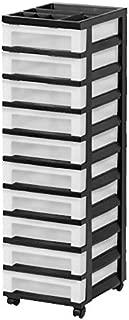 IRIS USA, Inc. MC-3100-TOP 10-Drawer Cart with Organizer Top, Black/Pearl