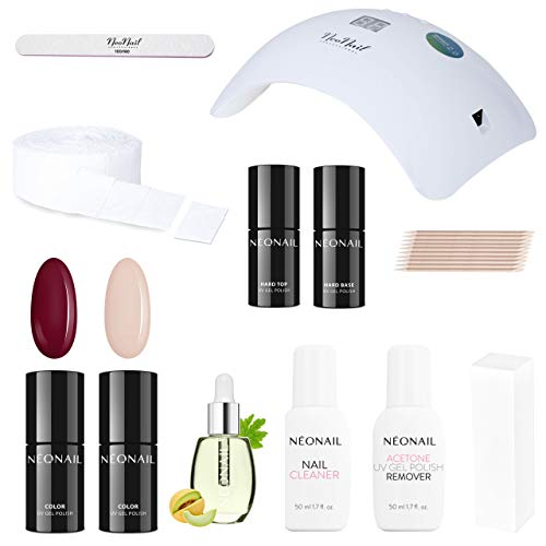 NEONAIL Starter Set mit LED Lampe 2x Nagellack Burgund, Beige Base Top Cleaner