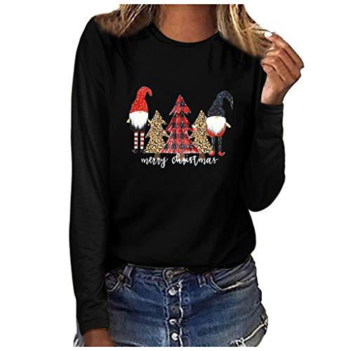 YBWZH Weihnachtsshirts Damen Kariert mit Druck Weihnachten Langarmshirts Winter Rundhals Tannenbaum Weihnachtspullover Locker Hässlich Damenmode Langarm T-Shirt Bluse Tops