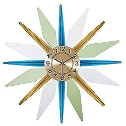 AWJ Sunburst Decor Silent Clock, Fashion 3D Metal Star Burst Wall Clock, Silent Non Ticking Modern Quartz Decor Wall Clock, Large Living Room Wall Watches