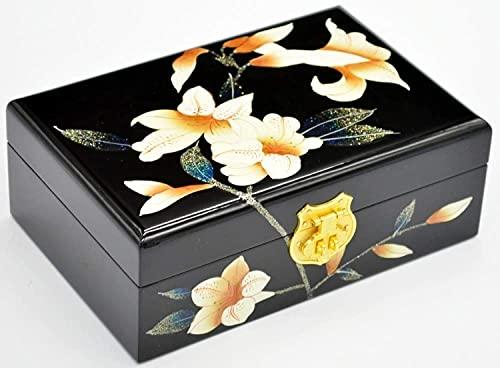 WYZQ Chinesische Aufbewahrungsbox, Push Light Lackwaren Retro-Make-up-Kassettenschloss aus Holz Gemalter Lack Muttertag, Mutter (A)