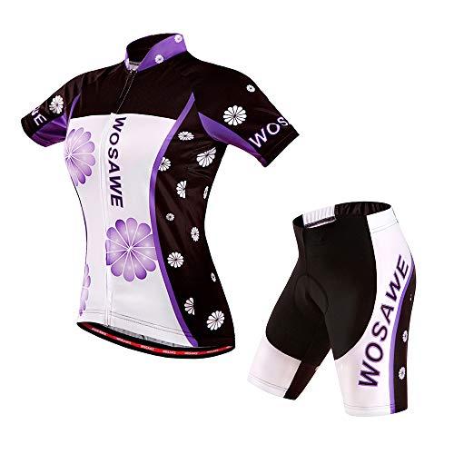 Wosawe - Completo con maglia a manica corte e pantaloncini imbottiti in gel 4D, da ciclismo, abbigliamento sportivo da donna per MTB, Donna, Maglia e Pantaloncini, Small