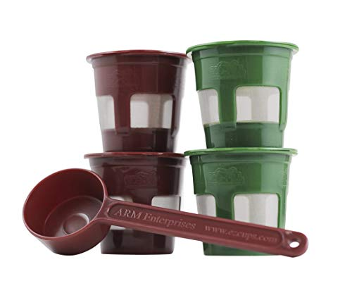 Perfect Pod 4-Pk Reusable Coffee Pods | Reusable Coffee Pod Filter and Scoop Compatible With Keurig VUE Coffee Maker (Requires Separate K2V-Cup Adapter)
