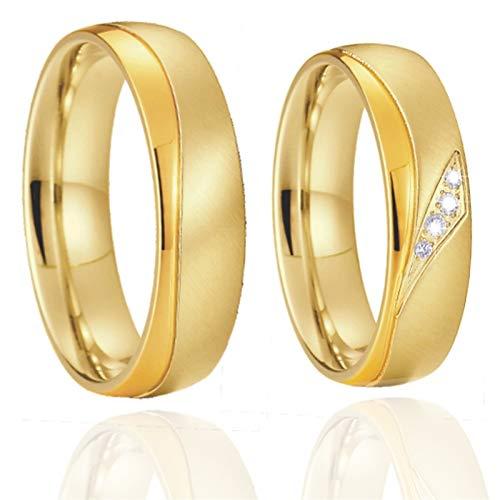 TLBB 1 par de Aros de Boda de Matrimonio Chapado en Oro de 18 quilados para Parejas Anillo de Dedo de la joyería de Acero Inoxidable (Gem Color : JSRS036FY, Metal Color : Women Size 5)