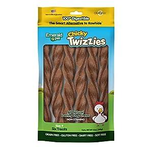 Emerald Pet – Dog Chews, Chicken Chew Treats, Rawhide Free, All-Natural Chew Sticks, Lasting Dog Treat, 100% Digestible, No Mess, Grain-Free, Gluten-Free (Twizzies, Size 9) 6-Pack, Yellow (00217)