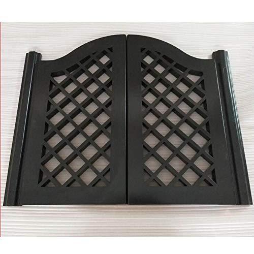 GuoWei Saloon Door Swinging Door Cafe Door Hinge Included, Fence Design, for Entrance Bar Kitchen Restaurant Partition, Customizable (Color : Black, Size : 95x70cm)