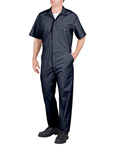 dickies Mens Short Sleeve Poplin Coveralls, 5X Tall, Dark Navy