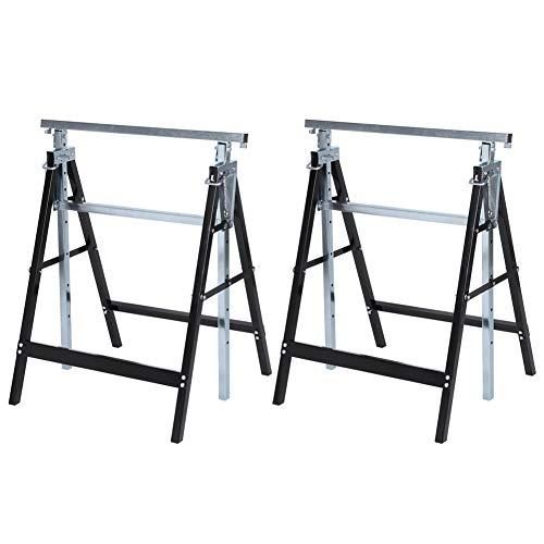 2x Teleskop Arbeitsbock Höhenverstellbare Gerüstbock Klappbock Set Stützbock Sägehilfe Abnehmbare Klapphubhalterung Rahmenhalterung für Arbeitstisch, Tragkraft 250 kg, Höhenverstellbar 80-130 cm