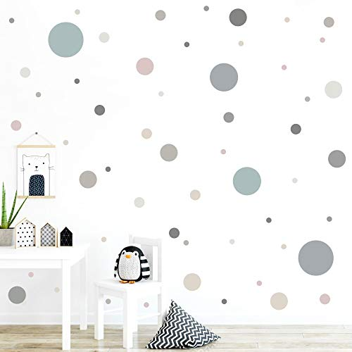 malango® 78 Wandsticker in vielen verschiedenen Farbkombinationen Punkte Kinderzimmer Wandtattoo Kreise Set selbstklebend grau-Altrosa-graugrün-beige