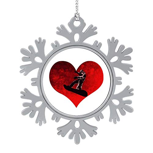 BUN T Love Snowboard Heart Personalized Christmas Snowflake Ornaments Alloy Xmas Tree Hanging Decorations