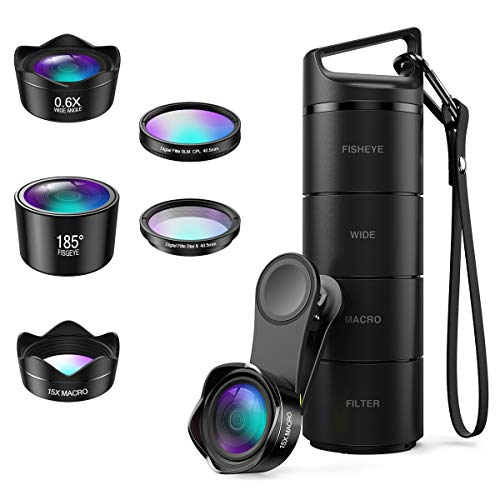 (Upgraded Version) Phone Camera Lens, 5 in 1 Cell Phone Lens Kit, Macro Lens, Wide Angle Lens, Fisheye Lens, CPL, Starburst Lens, with Storage Tube, for iPhone X 8 7, Smartphones