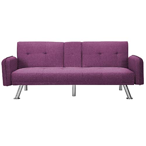 """Merax Mini Futon Bed Couch, Modern Sofa Sleeper Design for Living Room or Bedroom, Including Metal Legs and Upholstery Sofabed, 74.8"""", Purple"""