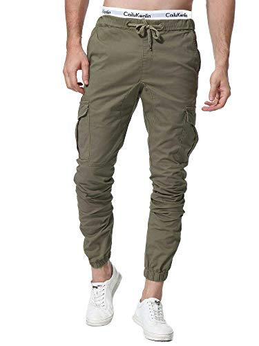 Zoerea Pantaloni Uomo Lunghi con Coulisse Tasche Laterali Maschio Cargo Pants Casual Sport Trousers