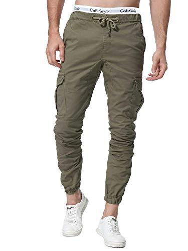 ZOEREA Homme Pantalon Cargo Sport Jogging Pantalons Multi Poches Ceinture Élastique Casual Activewear Long Pants (Armée Verte, L)