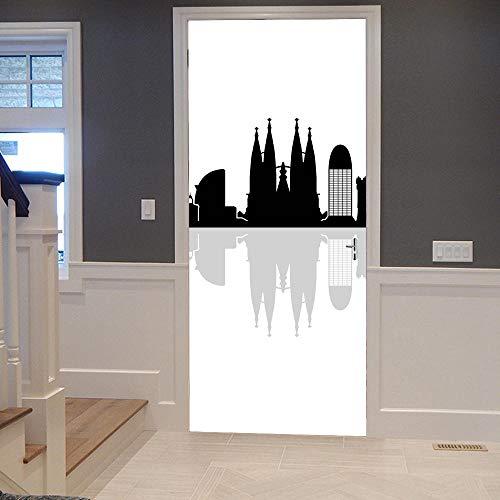 SMHCHA 3d Pegatinas de Pared Skyline de barcelona 95X215cm Creativo mural de...