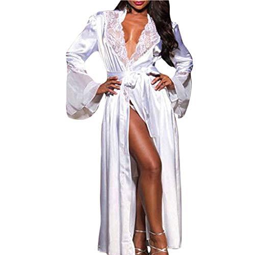SHOBDW Ropa de Dormir Mujeres Sexy Largo Satén De Seda Kimono Suave Bata Camisón Babydoll Encaje Sexy Lencería Ropa Interior Ropa De Dormir SPA Gimnasio Bata De BañO(Blanco,M)