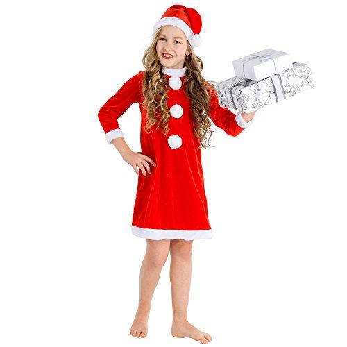 TecTake dressforfun Kinderkostüm Weihnachtsfrau | Weihnachts Kostüm für Mädchen | inkl. weihnachtlicher Zipfelmütze (8-10 Jahre | Nr. 300287)