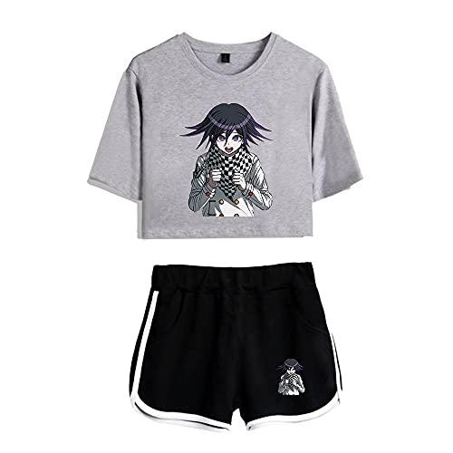 CNSTORE kokichiOuma Cosplay Crop Top y pantalones cortos de manga corta Kokichi OumaSportswear conjunto de dos piezas