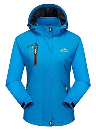 MAGCOMSEN Damen Leicht Softshelljacke Wasserdicht Kapuzenjacke Outdoor Übergangsjacke für Damen Camping Jacken Wanderjacke Casual Jacke Seeblau XL