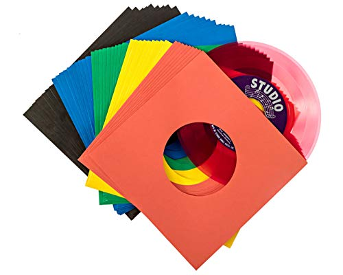 """Vinyl Record Sleeves 45rpm - 7 inch Premium Acid Free Protection Multicolor Paper Covers for 7"""" Singles Records - 50 Pack"""