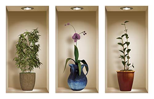 Die entfernbaren Nisha Art Magic 3D-Vinyl-Wandabziehbilder zum Selbermachen, 3er-Set, Blau und Braun Vasen