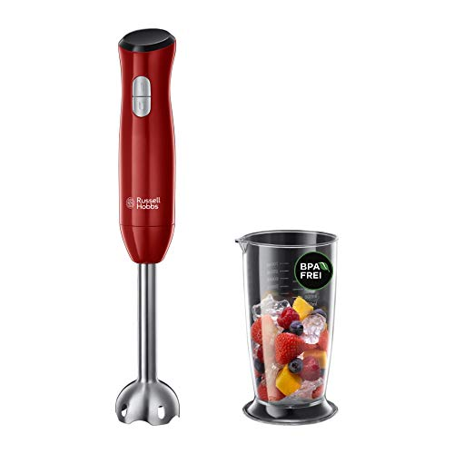 Russell Hobbs Mixeur Plongeant, Bol 500ml, Lames Robustes, 2 Vitesses, Anti-Eclaboussure - Rouge 24690-56 Desire